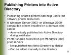 publishing printers into active directory