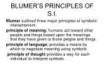 blumer s principles of s i