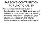 parson s contribution to functionalism