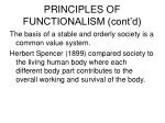 principles of functionalism cont d