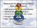 resources for maximizing one s god given talents