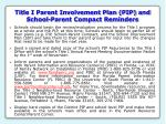title i parent involvement plan pip and school parent compact reminders
