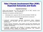 title i parent involvement plan pip expected outcomes and goals
