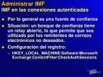administrar imf imf en las conexiones autenticadas
