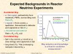 expected backgrounds in reactor neutrino experiments