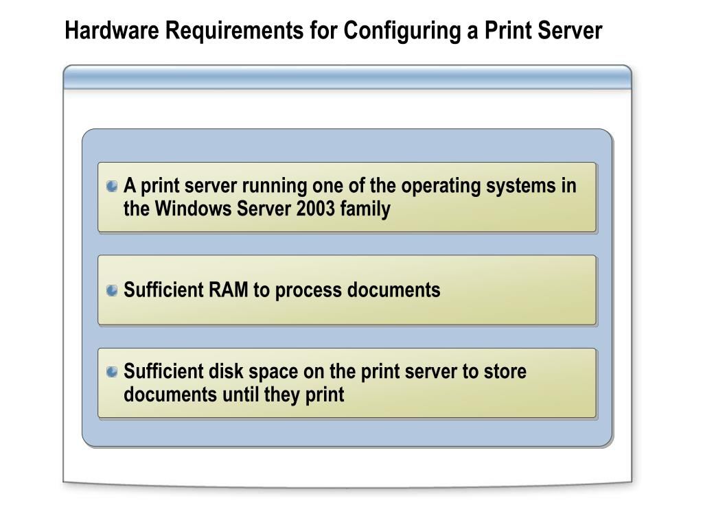 Hardware Requirements for Configuring a Print Server