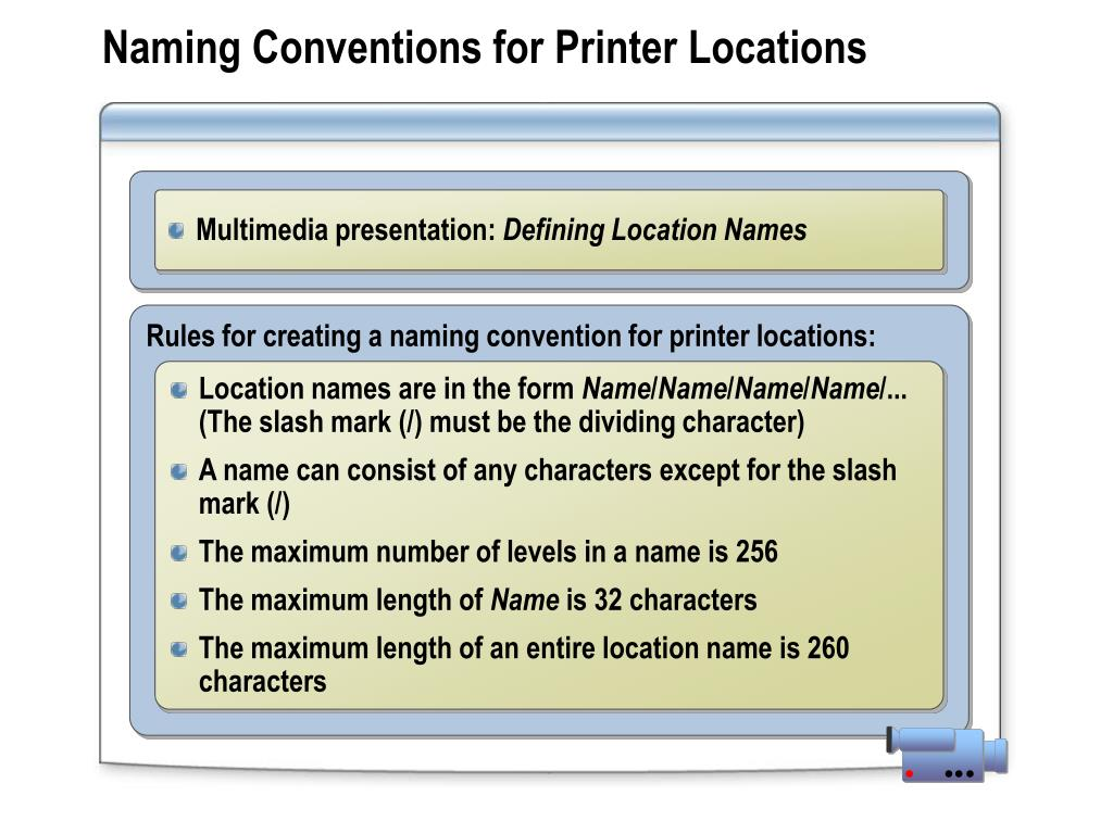 Naming Conventions for Printer Locations