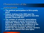 characteristics of the participation