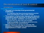 decentralization of land natural resources