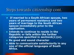 steps towards citizenship cont