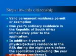steps towards citizenship