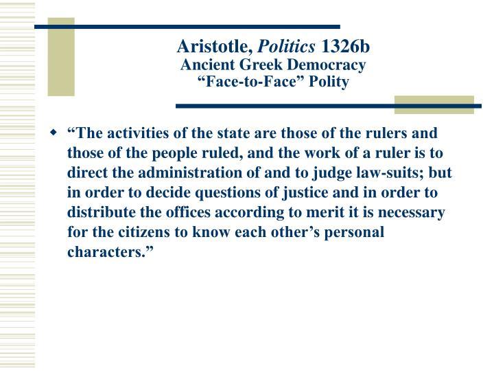 Aristotle politics 1326b ancient greek democracy face to face polity