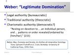 weber legitimate domination