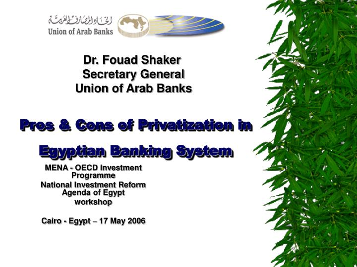 pros cons of privatization in egyptian banking system n.
