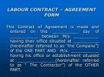 labour contract agreement form
