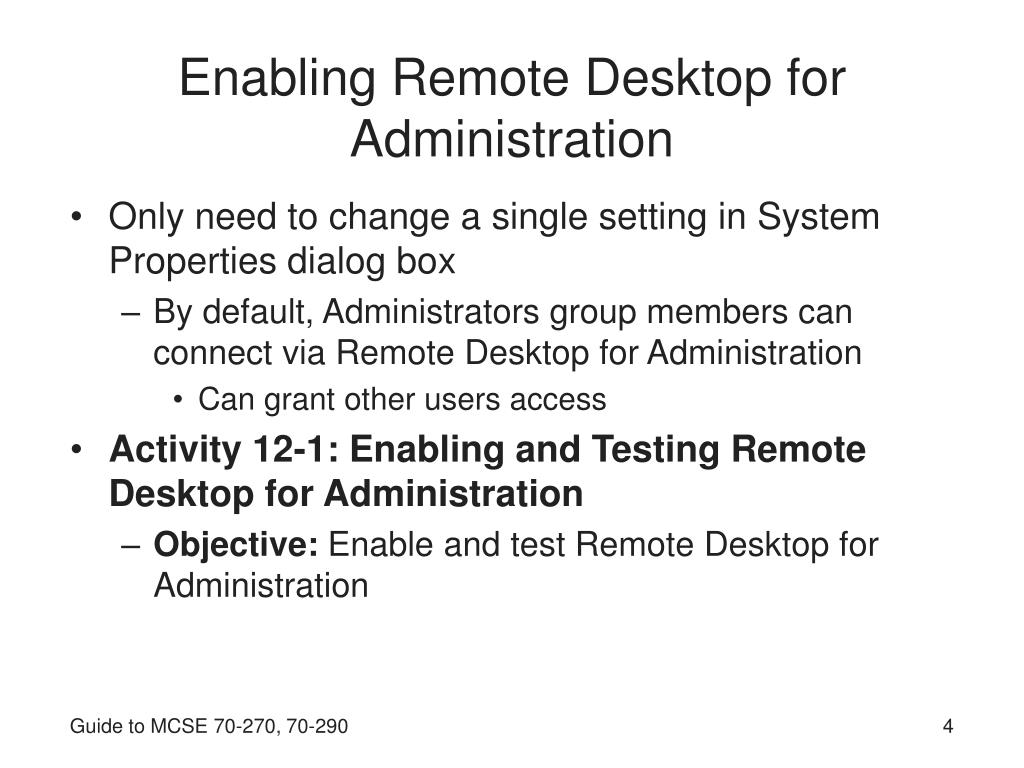 Enabling Remote Desktop for Administration