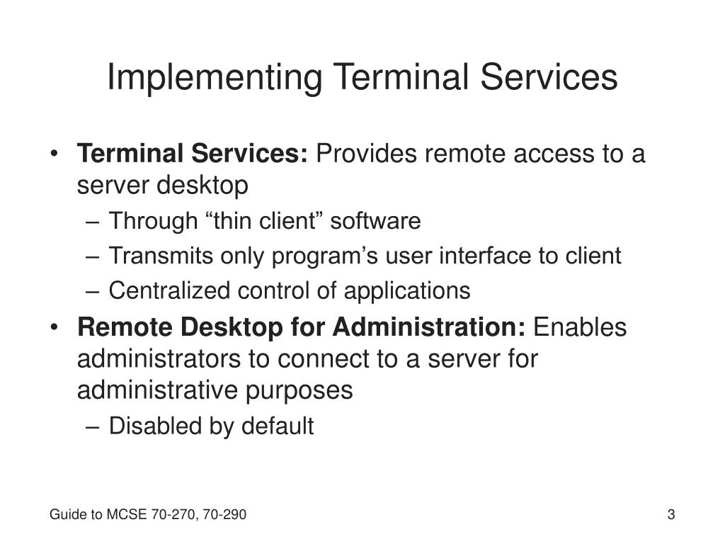 Implementing Terminal Services