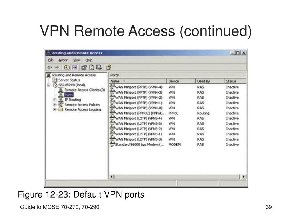 VPN Remote Access (continued)