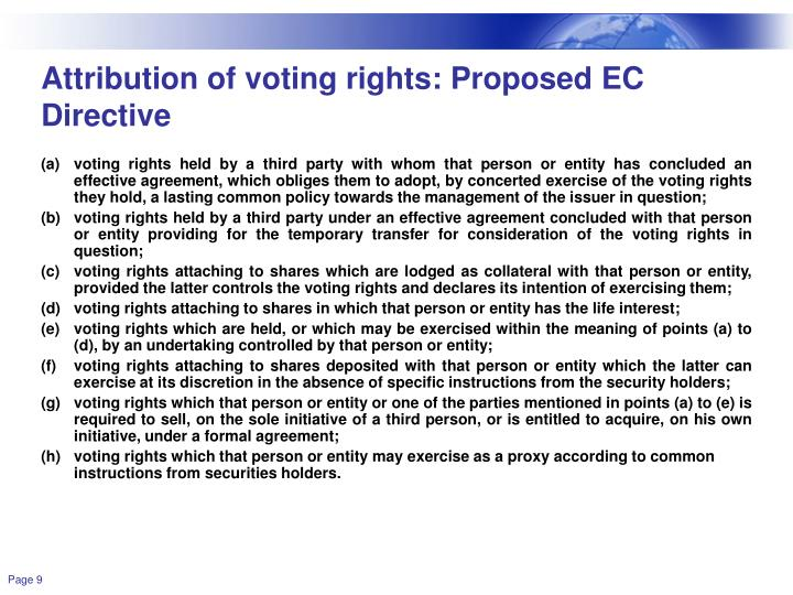 Attribution of voting rights: Proposed EC Directive