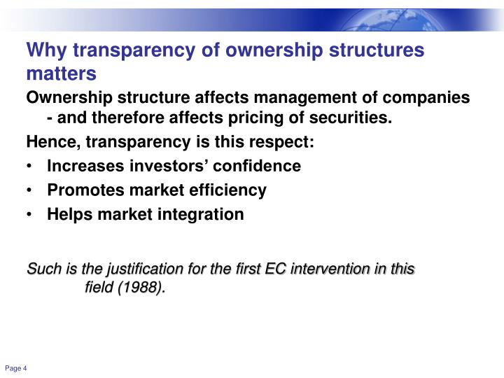 Why transparency of ownership structures matters
