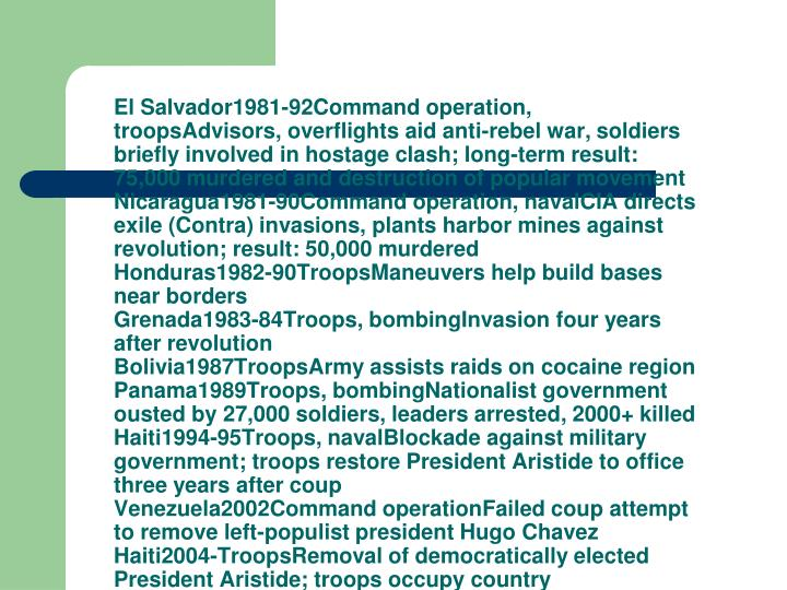 El Salvador1981-92Command operation, troopsAdvisors, overflights aid anti-rebel war, soldiers briefly involved in hostage clash; long-term result: 75,000 murdered and destruction of popular movement