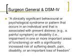 surgeon general dsm iv