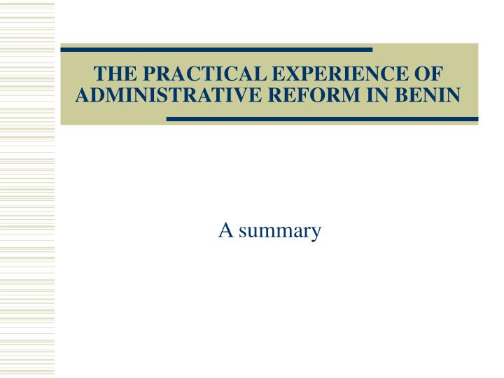 the practical experience of administrative reform in benin n.