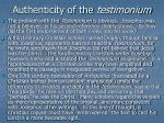 authenticity of the testimonium