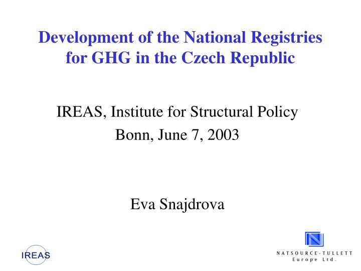development of the national registries for ghg in the czech republic n.