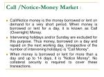 call notice money market
