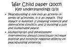 war child paper 2007 key understandings 2 3
