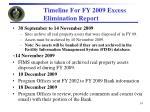 timeline for fy 2009 excess elimination report