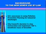 background to the new sewer use by law