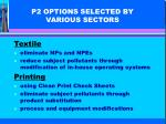 p2 options selected by various sectors1