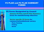 p2 plan and p2 plan summary forms