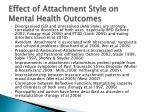 effect of attachment style on mental health outcomes