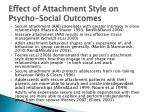 effect of attachment style on psycho social outcomes