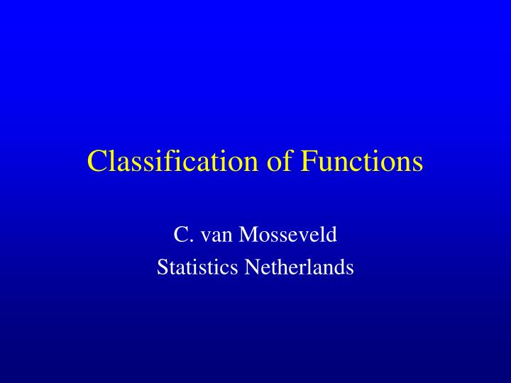 classification of functions n.