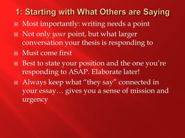 1: Starting with What Others are Saying