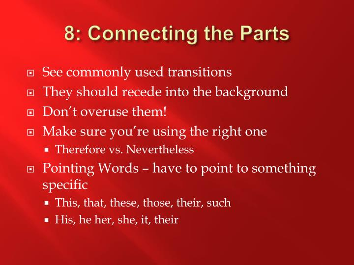 8: Connecting the Parts