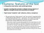filumena features of the text