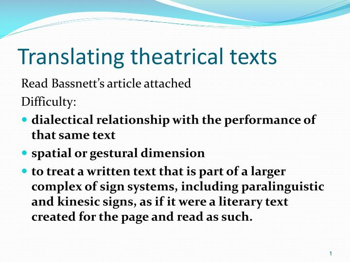 translating theatrical texts n.