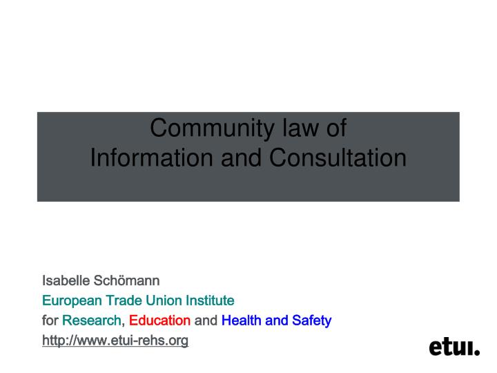 community law of information and consultation n.