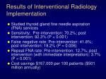 results of interventional radiology implementation