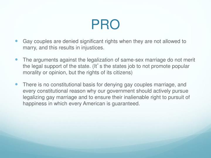 Pro same sex marriage argument