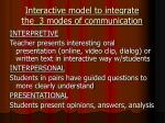 interactive model to integrate the 3 modes of communication