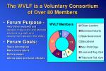 the wvlf is a voluntary consortium of over 80 members