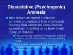 dissociative psychogenic amnesia