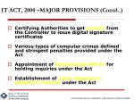 it act 2000 major provisions contd