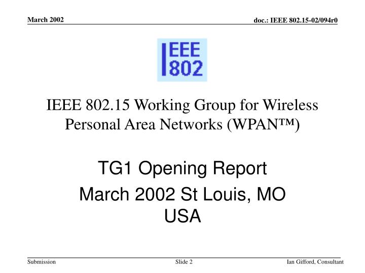 ieee 802 15 working group for wireless personal area networks wpan n.